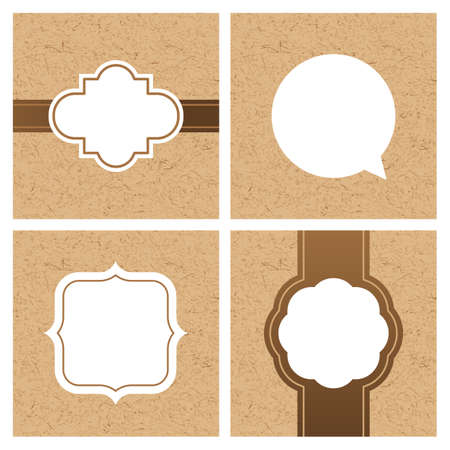 industry pattern: Vector set of vintage frames and banners with craft paper texture. White frame and text boxes on cardboard background. Template for text information, label, package and print design.