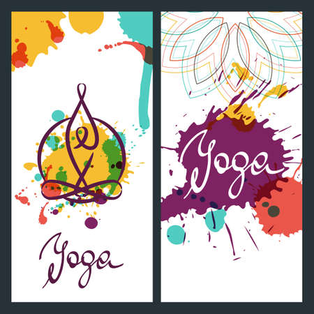 Yoga backgrounds, logo and lettering. Vector design elements for for banner, poster, flyer, label. Yoga watercolor illustration.