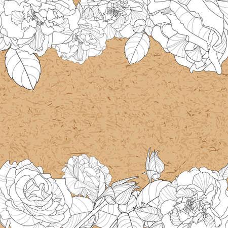 paper craft: Vector floral de fondo de la vendimia con las rosas dibujadas a mano las flores y el papel del arte. Concepto de diseño para la bandera, invitación, ahorre la fecha, tarjeta de cumpleaños. Fondo floral blanco y negro con rosas.
