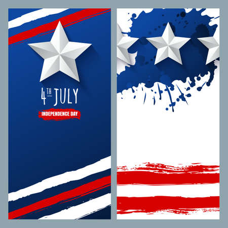 poster backgrounds: Vector watercolor banners and backgrounds. 4th of July, USA Independence Day.  Watercolor USA flag on white and blue background. Design for greeting card, holiday banner, flyer, poster.