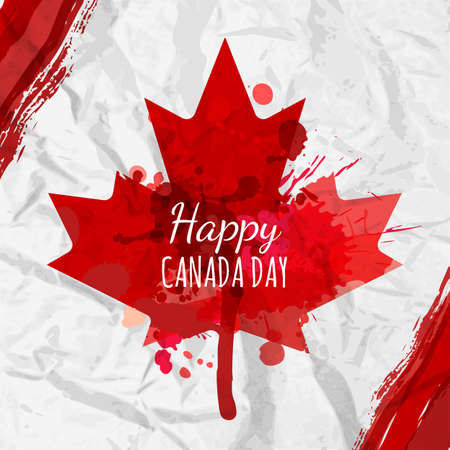 Holiday poster with red Canada maple leaf drawn on crumpled white paper. Happy Canada Day watercolor background. Grunge canadian flag illustration. Design for banner or greeting cards. Vector Illustration