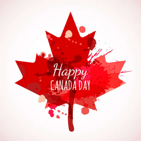 Happy Canada Day watercolor background. Holiday poster with red Canada maple leaf. Grunge canadian flag illustration. Design for banner or greeting cards.