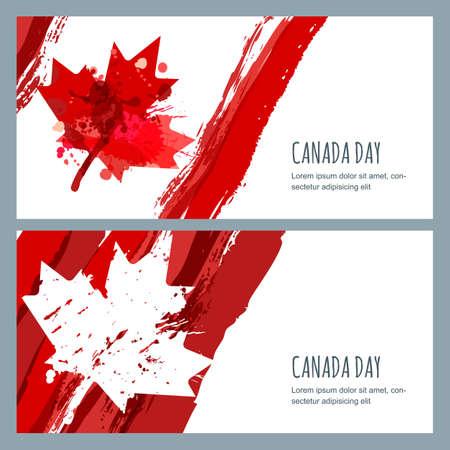 aquarel banners en achtergronden. 1 juli, Happy Canada Day. Waterverf Canadese vlag met esdoornblad. Ontwerp voor wenskaart, vakantie banner, flyer, poster. Stock Illustratie