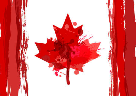 Holiday poster with  watercolor Canada maple leaf. Happy Canada Day watercolor horizontal background. Grunge canadian flag illustration. Design for banner or greeting cards.