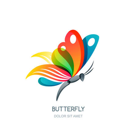 creative beauty: isolated illustration of colorful abstract butterfly. Creative design element. Butterfly symbol. Concept for beauty salon, fashion, spa, natural organic cosmetics or makeup. Illustration