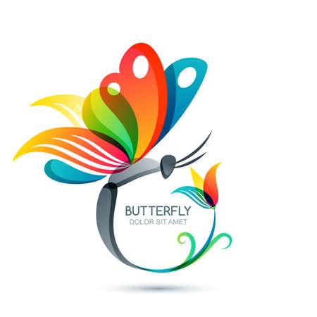 mariposa: mariposa de colores y flores, aisladas ilustración. Marco floral redondo con la mariposa. elementos de diseño. Concepto para el salón de belleza, moda, spa, cosméticos o maquillaje etiquetas.