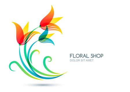 illustration isolé de fleurs de lys colorés. étiquette, icône des éléments de conception. Concept pour salon de beauté, les cosmétiques naturels et biologiques, maquillage, boutique de fleurs, jardinage.
