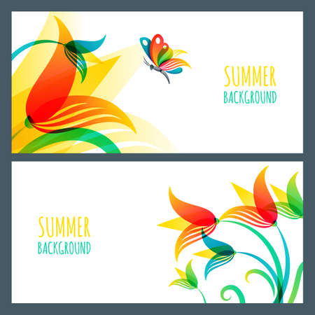 summer horizontal banners and backgrounds. Colorful summer lily flowers and butterfly. Nature white backgrounds. Design template for cosmetics label, greeting card, holiday banner Vectores