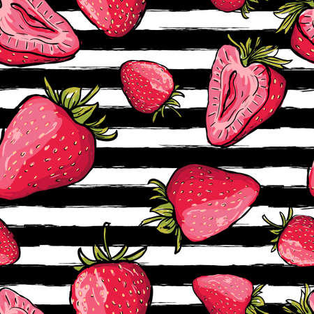 stripe pattern: summer seamless pattern. Red strawberries on black and white watercolor striped background.  juicy berries background. Design for fabric, textile print, wrapping paper or web.