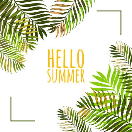 Vector frame met kokos palmbladeren op een witte achtergrond. Hallo zomer achtergrond. Bloemen banner of poster design template met tropische groene bladeren.
