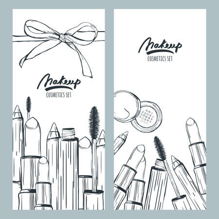 face powder: Vector banners or flyers with hand drawn illustration of makeup cosmetics. Sketch of lipstick, mascara, face powder, pencil, isolated on white background. Design concept for cosmetics label, makeup. Illustration