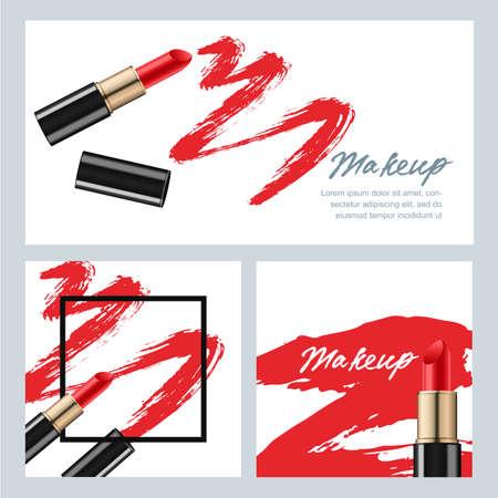 Conjunto de banderas del vector con el lápiz labial y lápiz labial frotis rojos sobre fondo blanco. vector de la belleza y fondos de maquillaje. Concepto de diseño para los cosméticos de maquillaje etiqueta, folleto, tarjeta de regalo.