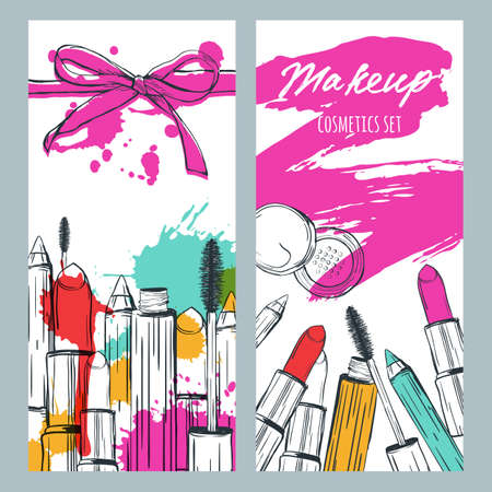 make up products: Vector banners with doodle illustration of makeup cosmetics and lipstick smears. Beauty and makeup background with lipstick, mascara, powder. Template for makeup cosmetics label, flyer, gift card. Illustration