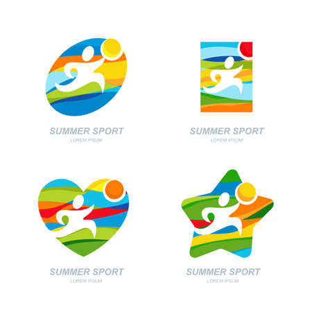 run: Set of vector summer sport  , labels, badges, emblems. Human sports icons. Running man on summer landscape background. Concept for outdoor summer games, competition, marathon. Printing design.