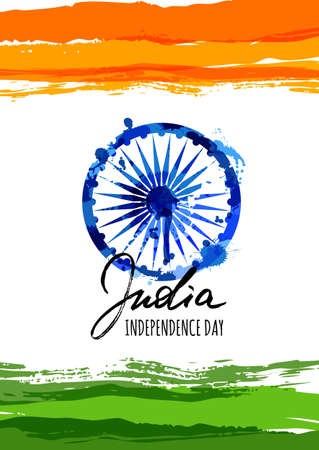 India flag vector illustration with hand drawn calligraphy lettering. India Independence Day watercolor background. Holiday poster with blue ashoka wheel. Design for banner or greeting cards.