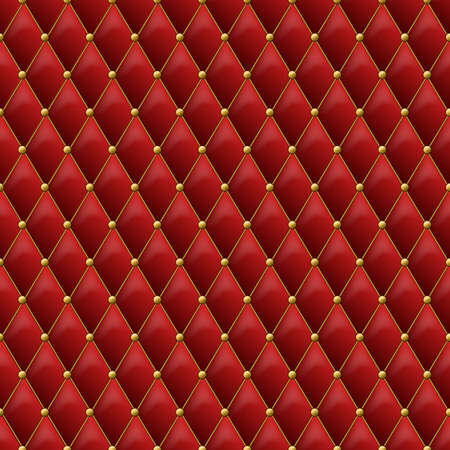 luxury furniture: Seamless red leather texture with gold metal details. Vector leather background with golden buttons. Luxury textile design, interior and furniture decoration concept.