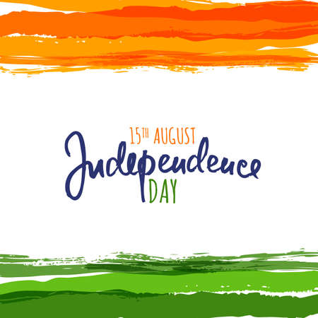 India flag vector illustration with hand drawn calligraphy lettering. India Independence Day watercolor background. Design template for holiday poster, banner or greeting cards. Vettoriali
