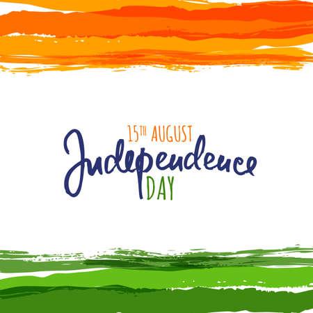 India vlag vector illustratie met handgetekende kalligrafie lettering. India Onafhankelijkheidsdag aquarel achtergrond. Ontwerp sjabloon voor vakantie poster, banner of wenskaarten.