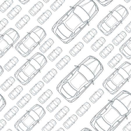 Vector naadloze zwart-wit patroon met overzicht auto's. Bovenaanzicht geïsoleerd lijn autopictogrammen. Straat verkeer, parkeren, vervoer of auto reparatie service concept. Automobile eenvoudige achtergrond.