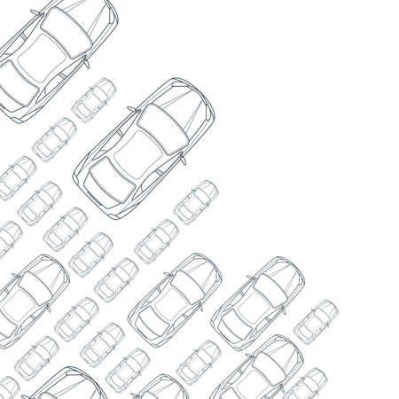 view icon: Vector monochrome background with outline cars. Top view isolated line car icons. Street traffic, parking, transport or car repair service design concept. Automobile simple background.