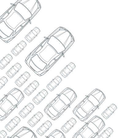 Vectorial blanco y negro de fondo con los coches de contorno. Vista superior de iconos del coche aislado de línea. tráfico de la calle, aparcamiento, el transporte o el concepto de diseño de servicios de reparación de automóviles. Automóvil fondo simple.