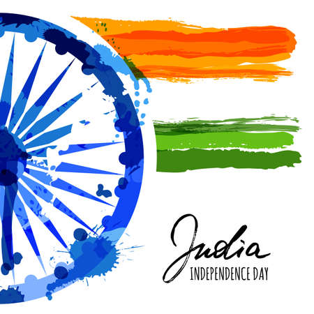 Vector watercolor illustration of India flag and hand drawn calligraphy. Holiday poster with ashoka wheel and indian flag. Design for banner or greeting cards. India Independence Day background. Vector Illustration