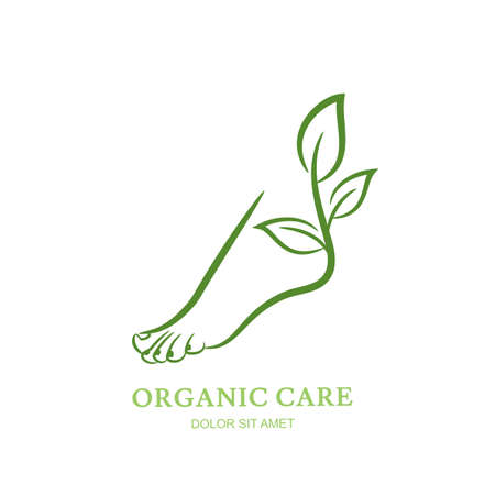 Womens foot with green plant and leaves. Vector  , label, emblem design elements. Abstract concept for beauty salon, pedicure, cosmetic, organic care and spa. Female elegant leg silhouette.