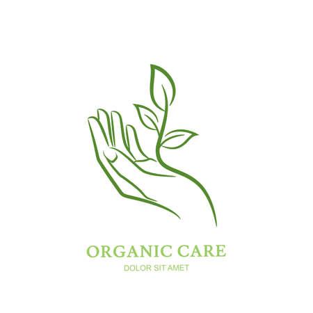 Mujeres mano con la planta verde y hojas. Vector, etiqueta, elementos del diseño del emblema. Resumen concepto de salón de belleza, manicura, cosmética, cuidado orgánica y spa. silueta de la mano femenina elegante.