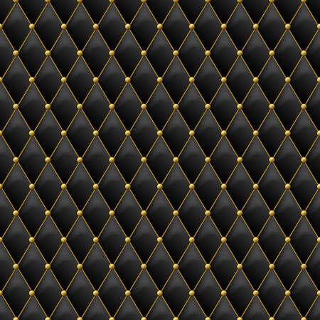 金金属の詳細とのシームレスな黒革の質感。ゴールデン ボタンを持つベクトル革背景。高級テキスタイル デザイン、インテリア、家具の装飾の概念