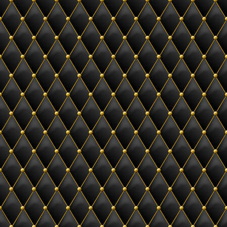 Seamless black leather texture with gold metal details. Vector leather background with golden buttons. Luxury textile design, interior and furniture decoration concept.
