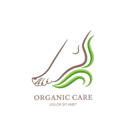 Womens foot in green leaves. Abstract design concept for beauty salon, pedicure, cosmetic, organic care and spa. Vector  design template.