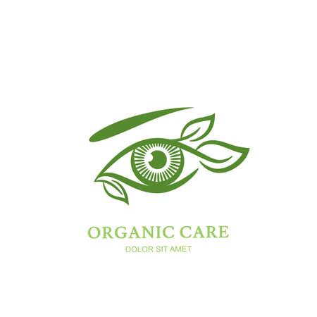 oculista: Ilustración Vector de la línea del ojo humano con las hojas verdes. Abstracto, etiqueta o diseño elemento emblema. Concepto para la óptica, tienda de los vidrios, oculista, oftalmología, maquillaje. cuidado de los ojos orgánica natural. Vectores