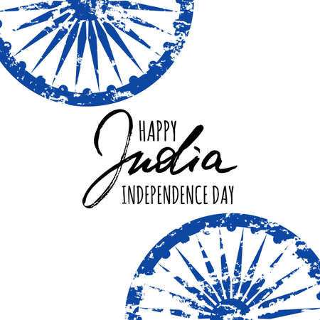 holiday symbol: Holiday vector poster for India Independence Day. Watercolor background with indian ashoka wheel symbol and hand drawn calligraphy lettering. Design layout for banner or greeting cards.