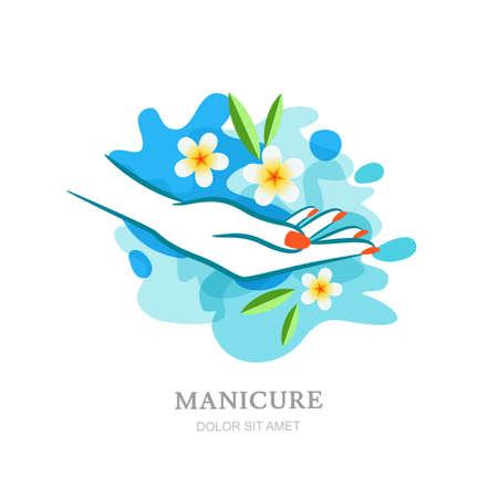 manos limpias: Mano de las mujeres y las flores tropicales en agua limpia. Vector, etiqueta, elementos de diseño emblema y fondos. Concepto para el salón de belleza, manicura spa, las manos femeninas cosmética, cuidado orgánico. Vectores