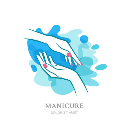 backgrouns: Female two hands in clean water splash. Vector  , label, emblem design elements and backgrouns. Concept for beauty salon, manicure, womens hand  cosmetic, organic care and spa. Illustration