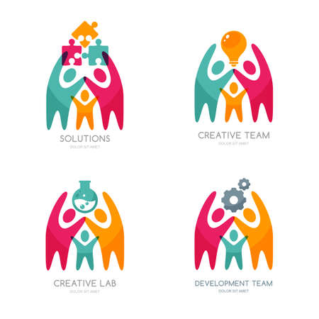 Set of vector human , icons or emblem. People with puzzle, light bulb, gear cog. Concept for business solutions, team building, consulting. Isolated color people and team work illustration.