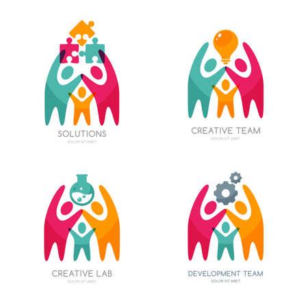 Set von Vektor-Mensch, Symbole oder Emblem. Menschen mit Puzzle, Glühbirne, Getriebezahnrad. Konzept für Business-Lösungen, Teambildung, Beratung. Isolierte Farbe Menschen und Teamarbeit Illustration.