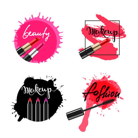 Set of vector labels, badges, banners with makeup cosmetic and lettering. Calligraphy words makeup, beauty, fashion and lipstick smears, isolated. Ink and watercolor backgrounds.