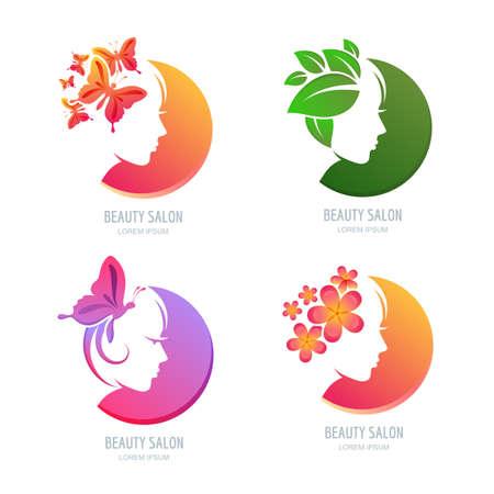 femme papillon: Vector beauté, jeu d'étiquettes. visage féminin en forme de cercle. Femme avec des papillons, des fleurs et des feuilles dans les cheveux. Les éléments de design pour salon de beauté, massage, spa, soins cosmétiques naturels.