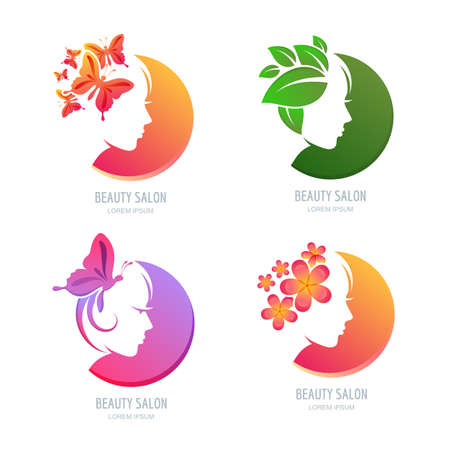 Vector beauty  , label set. Female face in circle shape. Woman with butterflies, flowers and leaves in hair. Design elements for beauty salon, massage, spa, natural care cosmetics.