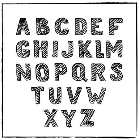 ink sketch: Vector hand drawn sketch alphabet. Ink scratched font. Hatching black letters, isolated on white background.