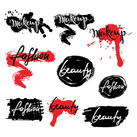 make dirty: Set of vector labels, badges, banners with makeup lettering. Calligraphy words makeup, beauty, fashion and lipstick smears, isolated. Ink and watercolor backgrounds. Illustration