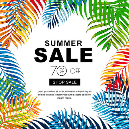 Summer sale banners with multicolor coconut palm leaves. Vector tropical poster background. Layout for discount labels, flyers and shopping.