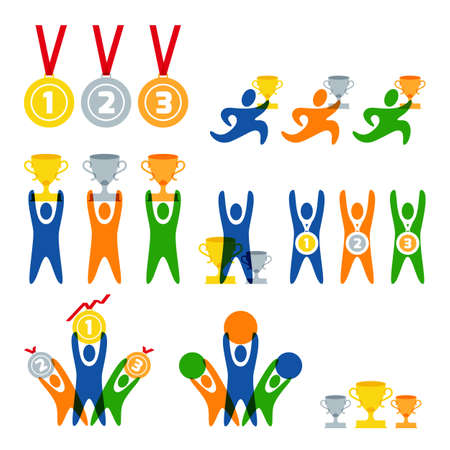prize winner: Set of vector human sport  , labels, badges, emblems. People and sports competitions isolated icons. Winner with awards and prize. Gold, silver and bronze medals and cups.