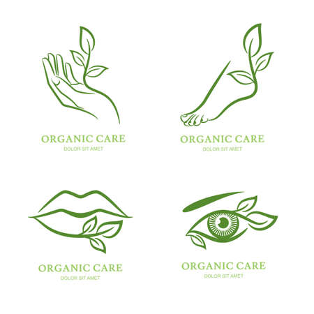 manos y pies: Vector, etiqueta, conjunto emblema. Mujeres mano, pie, ojo, labios con hojas verdes, aislados. Concepto para el salón de belleza spa, cosmética, pedicura manicura y cuidado del cuerpo orgánico