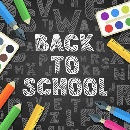 black board: Back to school vector sketch lettering and flat stationery icons. Pen, pencil, brush, paints, ruler on black board background. Design for poster, banner, school or education theme. Illustration