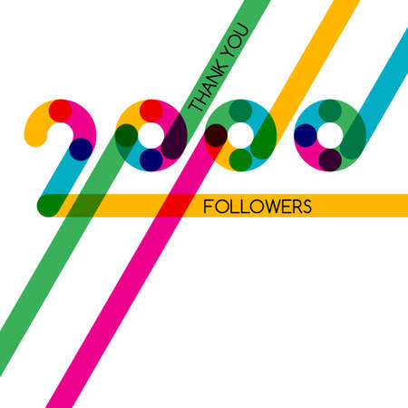 subscriber: Thanks 2000 follower, vector banner, badge or poster for blogs and social networks. Color card with numbers for followers, subscribers and friends. Trendy blog label.