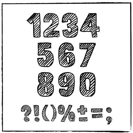 numerical: Vector hand drawn sketch numbers and signs. Ink scratched font. Hatching black numeral, isolated on white background. Arabic numerals 0, 1, 2, 3, 4, 5, 6, 7, 8 9