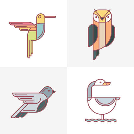 pigeon owl: Set of vector birds  icons. Colorful line birds illustration of hummingbird, owl, pigeon and swan. Isolated design elements on white background.