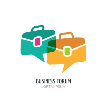 blog design: Business forum vector  or label design. Blog or chat portfolio color icon. Hand drawn speech bubble and briefcase illustration. Concept for blog design, chat, forum, social network, communication.